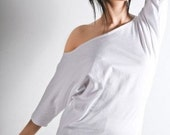 Womens Shirt Slouchy Off Shoulder Top White Small Medium Large