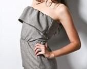 Strapless wool blend flap dress, medium