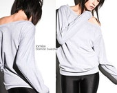 Oversize Sweater Grey - Womens Top Dolman Off The Shoulder Loose Fit Small Medium