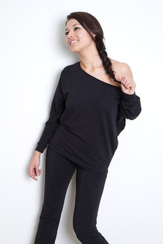 Reserved for akashicrepublic Off Shoulder Sweater Black -  Black Cotton Oversized Top Small Medium Large