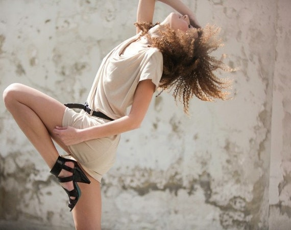 Blouse tunic top womens shrug au natural cowl beige m
