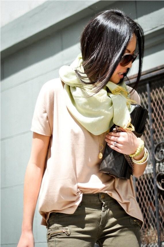 Oversized Beige Shirt - Womens  Fashion Top Soft Blouse Small Medium