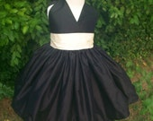 Black and Ivory Flower Girl Dress  2 3 4 5 and 6