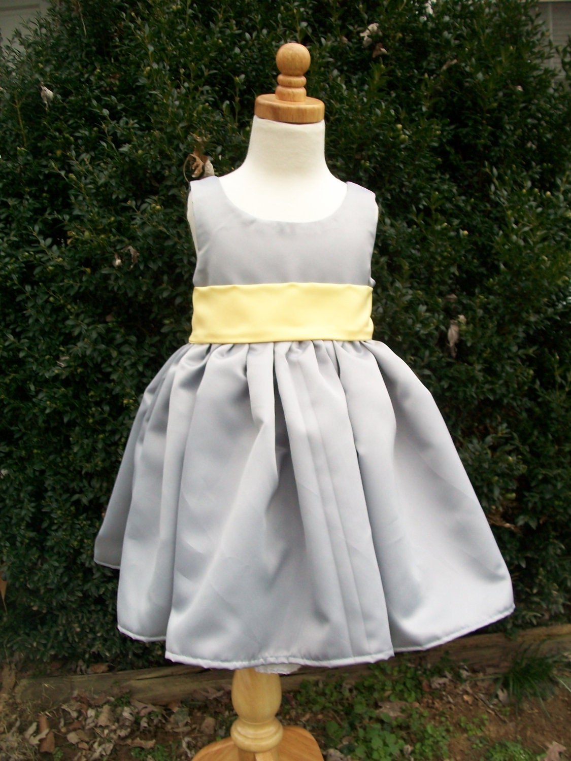 Items similar to Grey and Yellow Satin Flower Girl Dresses Size 2 3 4 5 or 6