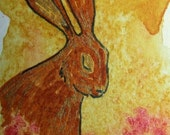 SALE Original Illustration ACEO -The Dreaming Hare - FREE SHIPPING