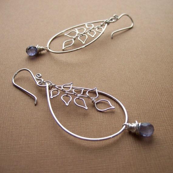 Kathy iolite and leaves earrings - jewelry by jackie