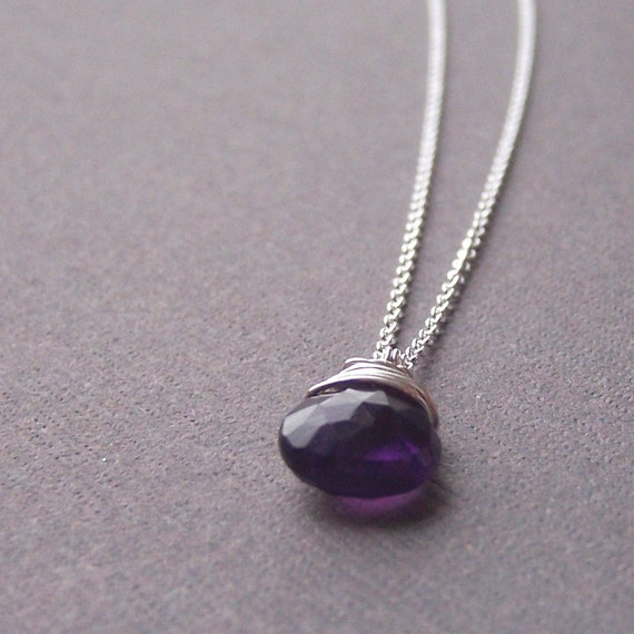 Wire wrapped Amethyst necklace - February Birthstone - jewelry by jackie