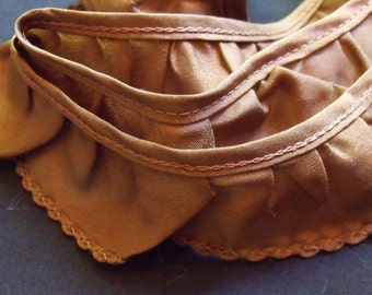 Brown Silky Polyester Ruffled Trim-Three yards