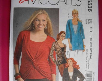 McCalls Easy Womens Pullover Tunic and Top Sewing Pattern M5536 Sizes 8 thru 16