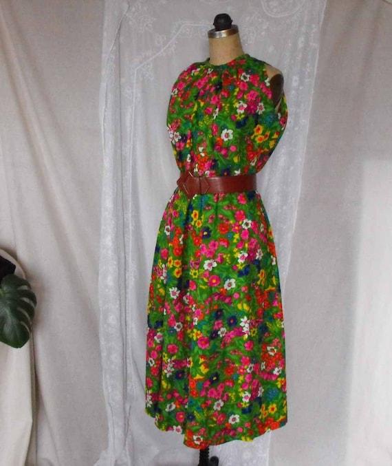 Vintage Hawaiian Muumuu Maxi Dress - Summer Color Explosion Bright Flowers- Clearance sale