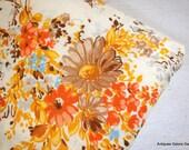 Vintage Sheets Orange Flowers / Bedding / Linens