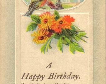 Vintage Postcard, Happy Birthday, Two Birds, Orange Flowers, Embossed, Unused Post Card  (414-10)