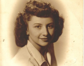 Vintage Sepia Tone Photograph Young Woman, 1940's Picture, Mid Century  (457-10)