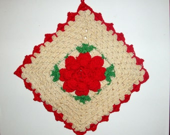 Vintage Red And White Square Potholder, Crocheted Pot Holder, Red Flower, Retro Kitchen Decor, No. Two