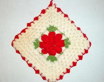 Vintage Crocheted Pot Holder, Red and white Kitchen Decor, Retro, Red Flower, Mid Century, No. Three