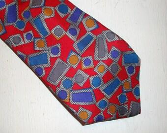 Vintage 100% Silk Necktie, Neck Tie, Man's Accessory, Surrey,  Italian Fabric, Red, Blue  (488-11)