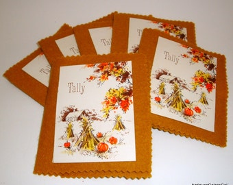 Vintage Game Tally Cards, Score Pads, Handmade with Felt, Autumn, Fall Theme with Pumpkins, Country Scene, Set of Six  (502-11)