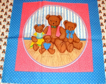 Bear Family Pillow Fabric, Cranston Print Works Company, Cut Stuff Sew, Crafting  (772-11)