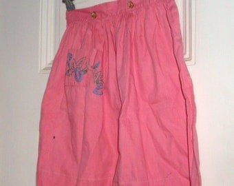 Vintage Girl's Embroiderred Skirt, Mid Century Clothing, Morning Glory, Floral Buttons, Pink, Cotton