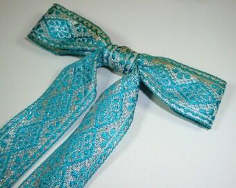 Vintage Clip On Bow Tie, Mid Century, Aqua Blue, Silver Metallic, Mens