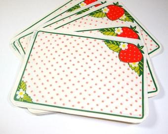 Vintage Labels, Strawberry, Red Polka Dot , Recipe Cards, Set of 10