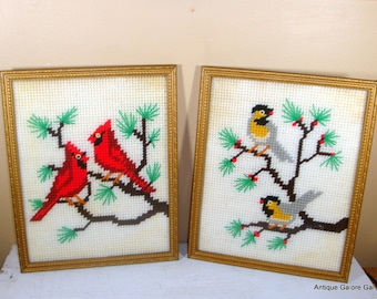 Vintage Framed Needlepoint Pictures Birds, Needlecraft, Yellow and Gray Birds, Red Bird, Wall Hanging, Bird Lover (308-12)