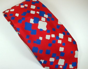 Vintage Man's Necktie, Neck Tie, Man's Accesory, Patriotic Red, White, and  Blue, Jordan Marsh Tie, John Weitz Fabric Lining, Retro.