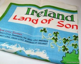 Vintage  Linen Dish Towel, Tea Towel, Kitchen Decor, Irish, Ireland Land Of Song, Signed Nelson (399-12)