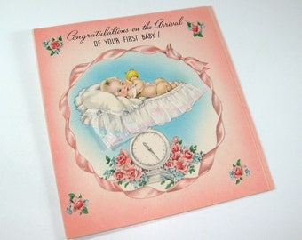 New Baby Greeting Card, Congratulations On The Arrival Of Your First Baby, Mid Century, Pink, Blue