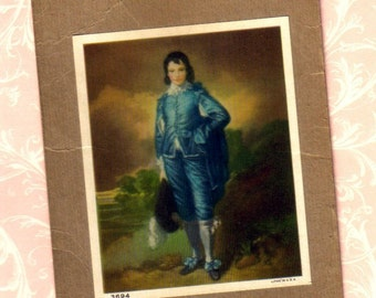 Vintage Blue Boy Print,  Small Picture, Unframed  (350-10)