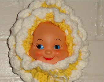 Vintage Doll Pot Holder, Hotpad, Crochet, Removeable Doll Face, Retro Kitchen Decor, Yellow and  White, Mid Century Wall Hanging (264-10)