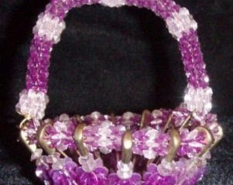 Vintage Beaded Basket, Safety Pin Basket, Handcrafted, Small, Purple  (8678)