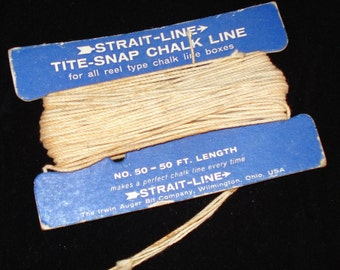 Vintage Strait Line Tite Snap Chalk Line, Reel Type Line Boxes, Grungy String, Crafting  (129-10)