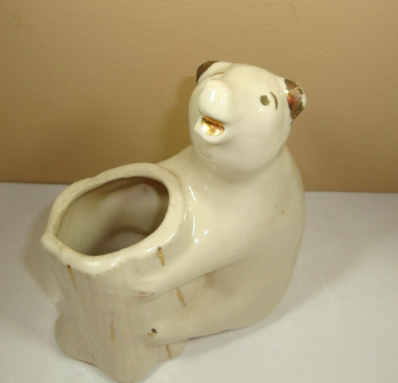 Vintage Ceramic White Bear Planter Flower Pot Vase