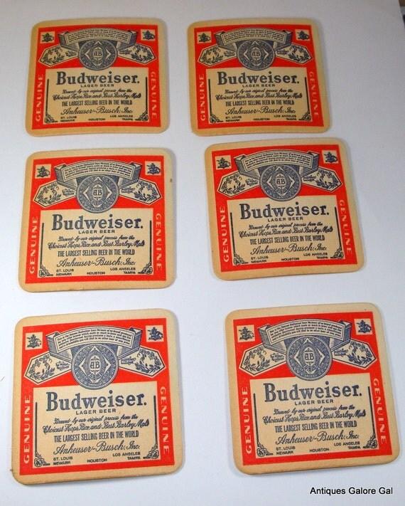Vintage Budweiser Coasters / Anheuser-Busch / Set Three