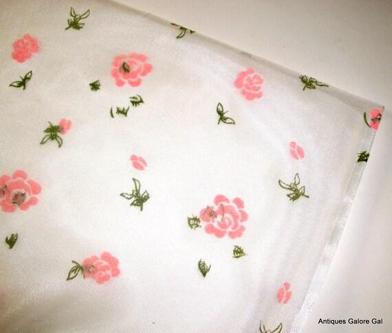 Vintage Sheer Fabric, Pink Flocked Flowers  (153-12)