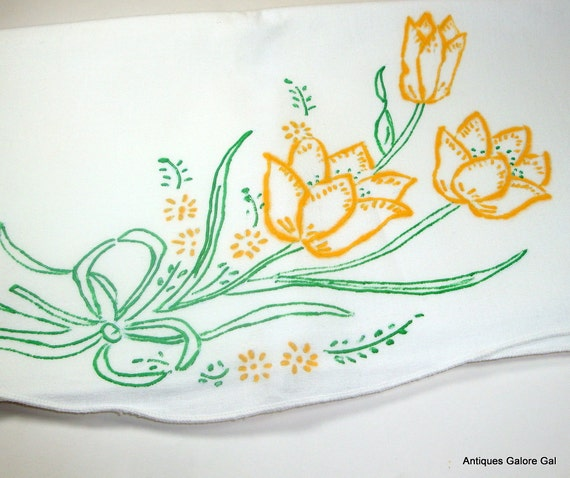 Vintage Pair Cotton Floral Pillowcases, DIY Unfinished, Ready To Embroider,Yellow Tulips,Vintage Bedding, Linens  (191-12)