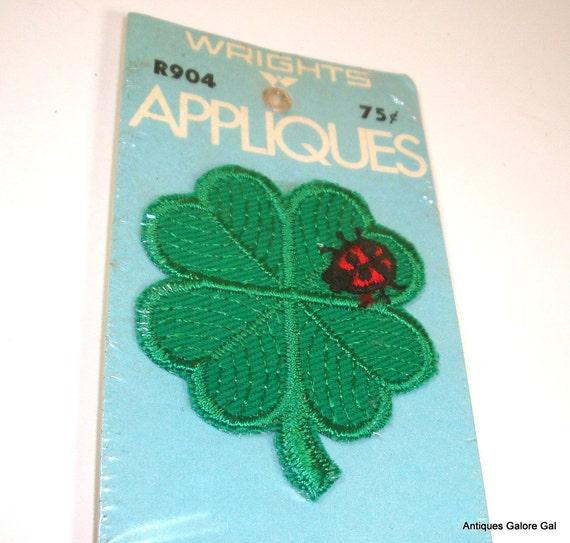 Vintage Green Shamrock and Ladybug Embroidered Applique (255-12)