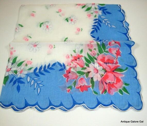 Beautiful Vintage Floral Cotton Handkerchief / Ladies Hankie / Blue Scalloped Edge / Pink Flowers