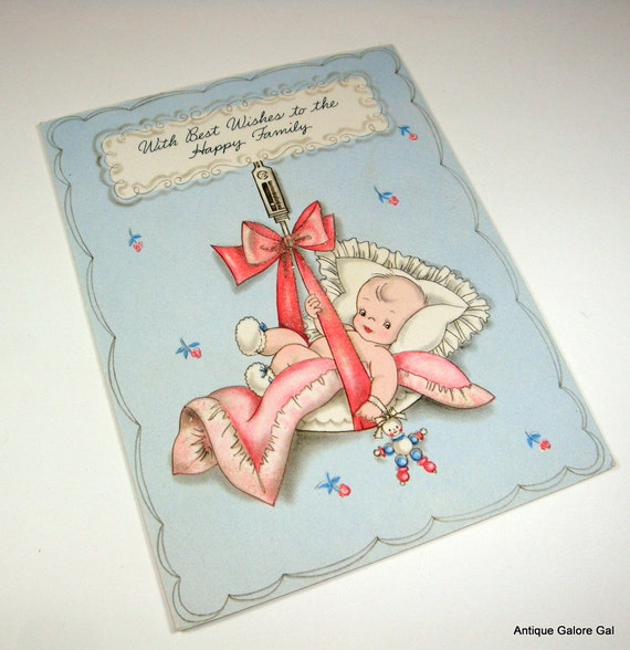 Vintage New Baby Greeting Card, Best Wishes, Blue, Pink, Infant