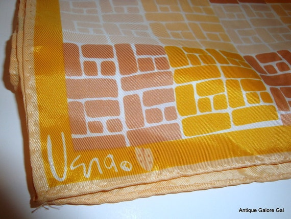 Vintage Vera Scarf with Lady Bug, 1970's, Brick Pattern in Gold, Beige, Rosy Beige  (4642)
