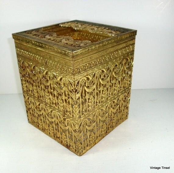Vintage Gold Ornate Metal Tissue Box Cover (513-12)