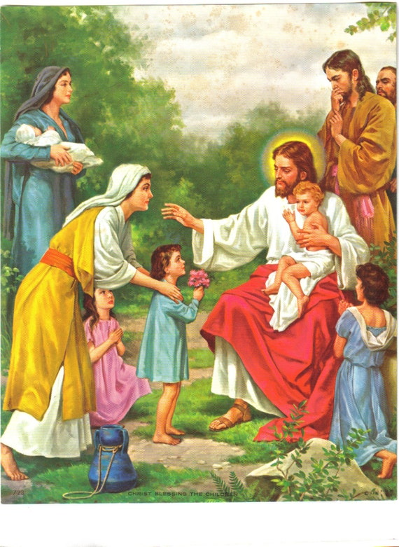 Vintage Christ Blessing The Children, Religious Picture, Jesus, Christian, Calender Ad Print, 1960's  (294-10)