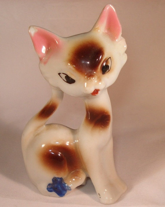 Vintage Ceramic Cat Figurine Made In Japan By