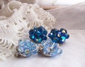 Vintage Crystal Cluster Earrings in Faceted Blue Glass for Rescue or ReCreation
