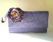 fabric handbag, lavender wool felt, clutch. purse, 50% CLEARANCE SALE, black friday, cyber monday, wristlet, peach, purple,