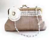 raw silk, purse, clutch, bridal, special occasion, pale beige, beaded strap