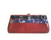FREE SHIPPING, Clutch, purse, clutch, altered couture, vintage clutch and buttons, faux leather, brick red, chain handle