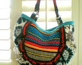 15% COUPON SALE, handmade fabric bag, purse, tote, Hobo, tribal, ethnic, vintage woven fabric, anthropology inspired