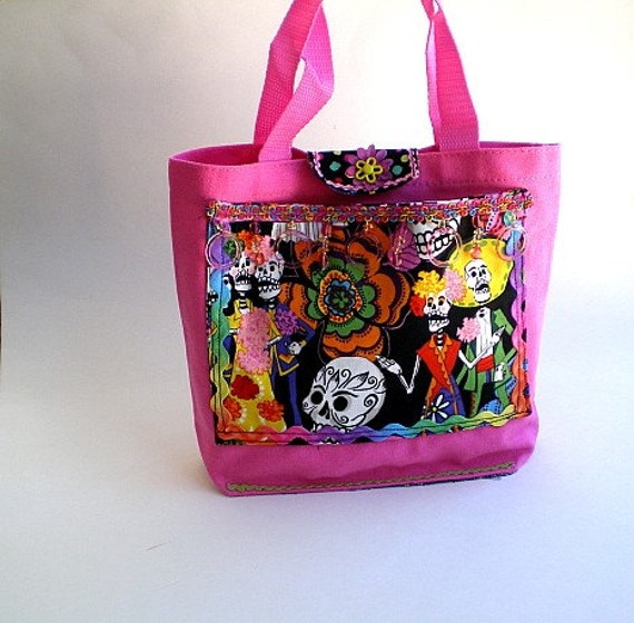 70% CLEARANCE SALE, Day of the Dead bag, Halloween,  in hot pink canvas
